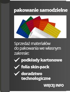 pakowanie samodzielne. sprzedaż materiałów do pakowania we własnym zakresie: podkłady kartonowe, folia skin-pack, doradztwo technologiczne